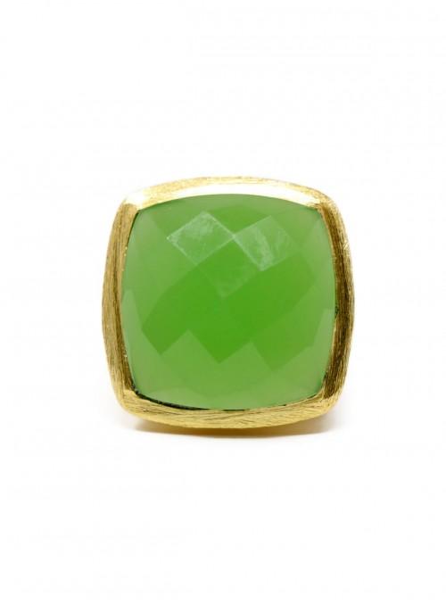 Azai Prehnite Chalcedony Ring