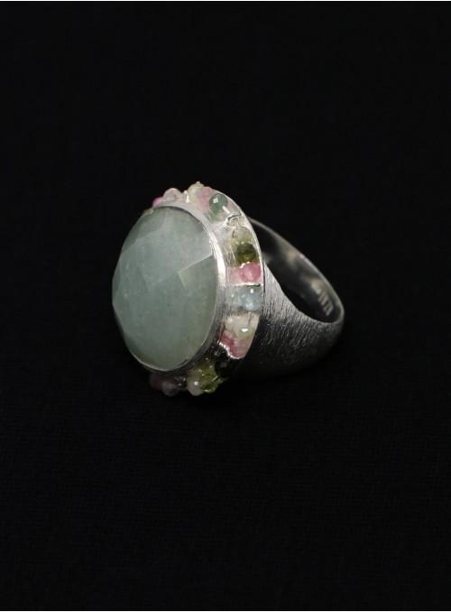 Azai Aquamarine and Tourmaline Ring