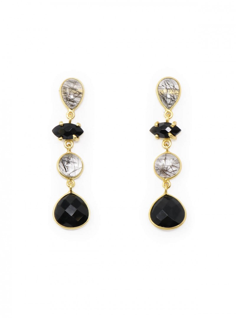 Azai Black Routile and Black Onyx Earrings