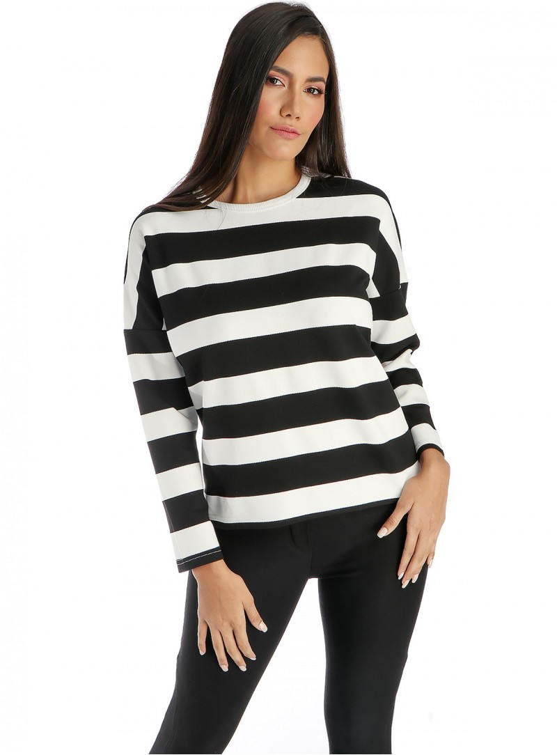 b3f332d0fec325 Brooke Stripped Scoopneck Sweater. Hover to zoom