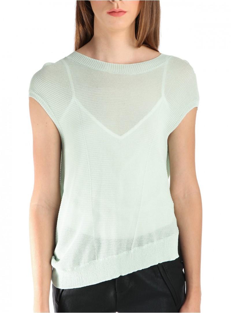 Asymmetrical Short Sleeved Sweater