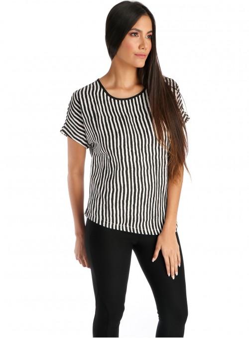 Asymmetrical Top Black White