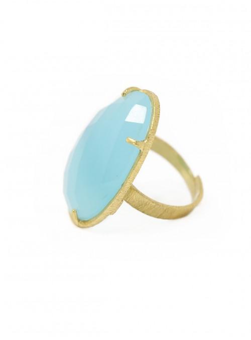 Azai Aqua Chalcedony Ring
