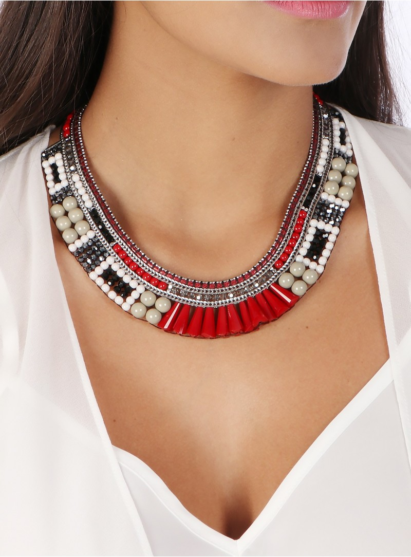 Necklace Square Red Grey