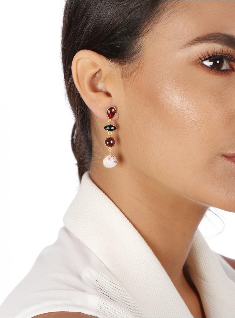 Azai Black Onyx and Garnet Earrings
