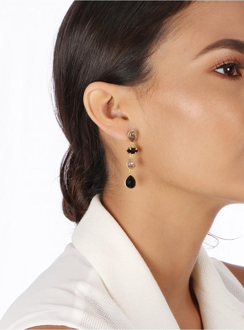 Azai Black Routile and Black Onyx Earrings