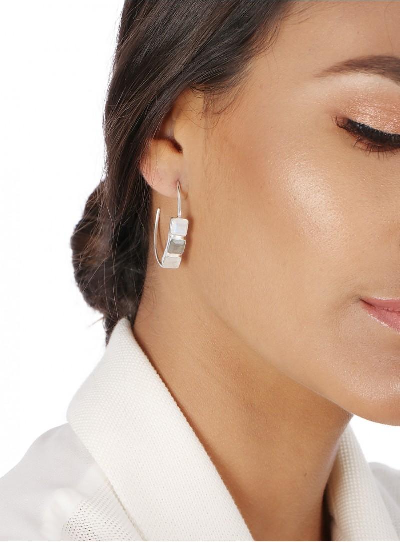 Azai Rainbow Moonstone and Labradorite Earrings