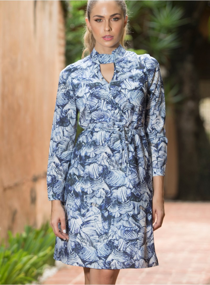 KF501 - Dresses - Blue-L-Print