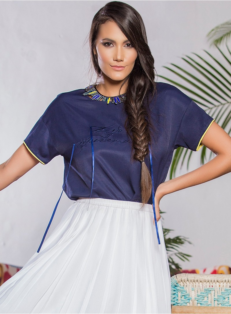 KF104 - Blouses - Blue-S-Solid