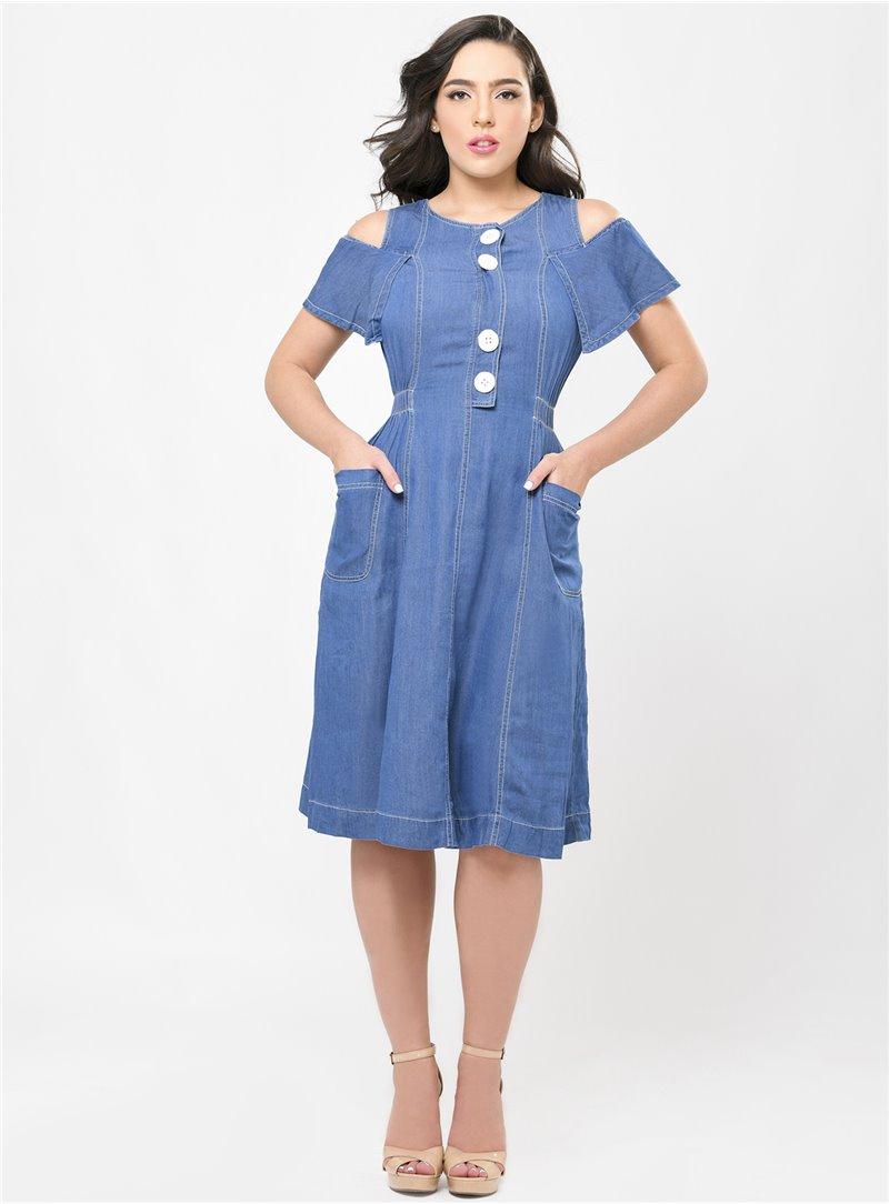Sammie Cold Shoulder Denim Dress